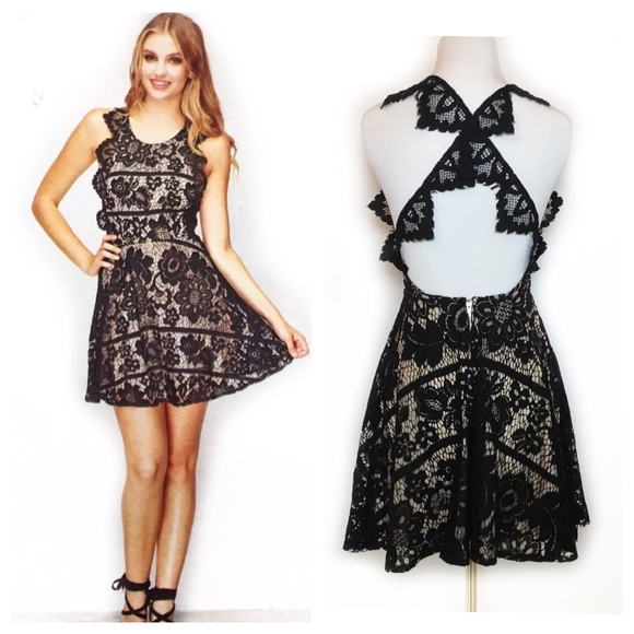 get cheap variousstyles modern design Selfie Leslie Lace Pinafore Backless Flare Dress NWT